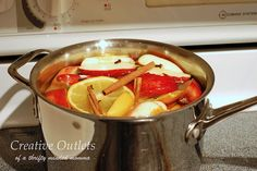stovetop potpourri. I do this every winter, it drives my husband nuts. He thinks I baked pies while he was at work. hehehe
