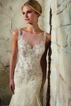 illusion neckline wedding dress - Google Search