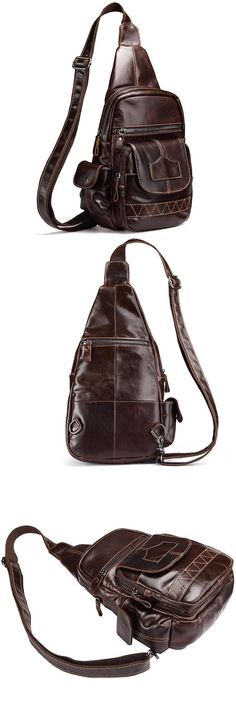 [Visit to Buy] New First Layer Genuine Leather Sling Chest Back Pack Real Cowhide Travel Trend Trend Daypack Messenger Shoulder Cross Body Bag #Advertisement
