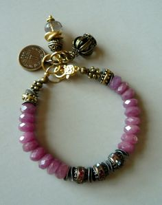 Pink Ruby Charm Bracelet with Vintage Rhinestone Beads and Gold - Last One…