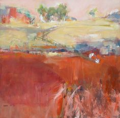 Landscape - Sandra Rubin - love her unfinished style - leaving the original drawing showing through.