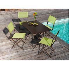 Salon de jardin en acier 4 places Rouille Lime PHILAO - Maison Facile : www.maison-facile.com