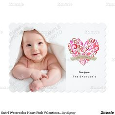 Swirl Watercolor Heart Pink Valentines Day Photo 5x7 Paper Invitation Card
