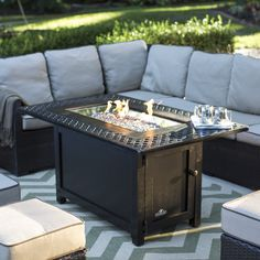 The Napoleon Victorian Rectangle Patioflame Gas Fire Pit Table provides a beautiful - and warm - accent to your outdoor space and allows you and guests. Fire Pit Coffee Table, Gas Fire Pit Table, Outdoor Propane Fireplace, Fireplace Brick, Outdoor Fire, Outdoor Living, Fire Pit Supplies, Copper Fire Pit, Fire Pots