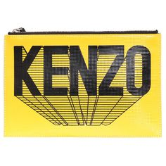 Kenzo Clutch bag (1,490 CNY) ❤ liked on Polyvore featuring bags, handbags, clutches, fillers, purses, yellow fillers, yellow, man bag, yellow hand bags and handbags purses
