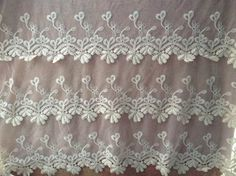 Off White Wedding Lace Fabric Cotton Embroider Lace by lacelindsay, $28.80 HANNAH, WOULD YOU BE OPEN TO A LACE BORDER SEWN AT HEM IN STEAD OF ALL OVER LACE?...IT COULD BE VERY NICE!