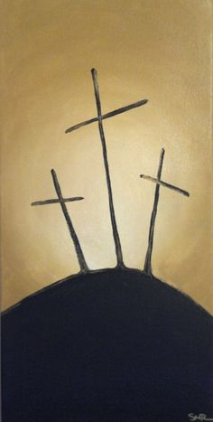 Three Crosses II  Acrylic Painting by StaceyMReilly on Etsy, $30.00