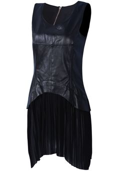Black Sleeveless Contrast Leather Pleated Dress