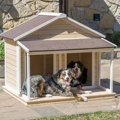 White Washed Large dog house with covered front porch. This adorable dog house offers shelter from weather inside and a covered porch for sun protection.