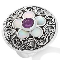 """Bali Designs by Robert Manse Amethyst and Mother-of-Pearl """"Flower"""" Sterling Silver Ring at HSN.com."""