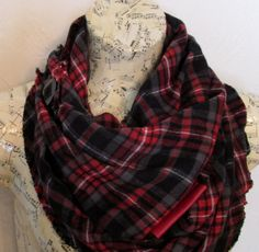 Red plaid scarf !!! Cozy red flannel with leather and it buttons into an infinity scarf !!
