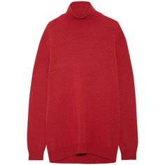 Marni Cape-back wool and cashmere-blend turtleneck sweater ($680) ❤ liked on Polyvore featuring tops, sweaters, red, turtleneck top, turtle neck top, red turtleneck, print sweater and red top