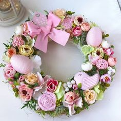 Items similar to Easter Wreath Front Door Spring Wreath Pink Foyer Wreaths Easter Decorarion Home Decore Easter Egg Wreath on Etsy Pdf Sewing Patterns, Doll Patterns, Plastic Eggs, Easter Wreaths, Confectionery, Artificial Flowers, Business Ideas, Foyer, Easter Eggs