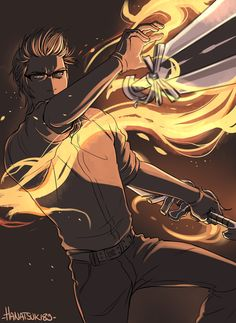 Guess who wants to learn how to draw and colour action/fight shots… Ignis throwing daggers wasn't the best choice for a first try, but hey, I tried xD Final Fantasy Artwork, Final Fantasy Xv, Fantasy Series, I Need A Nap, Character Design References, Art Pictures, Photos, Dark Art, Cool Drawings