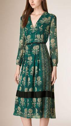 Floral Print Silk A-line Dress