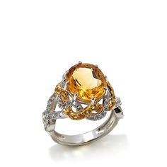 Victoria Wieck Oval Gemstone and Topaz Ring -