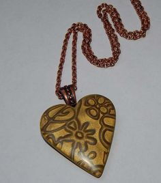 Polymer Clay Heart Pendant Necklace Mica Shift by PebblesnPaint, $15.00