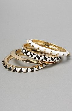 i love nOir The nOir x L.A.M.B. Geo Clash Stack Bangles,Jewelry for Women