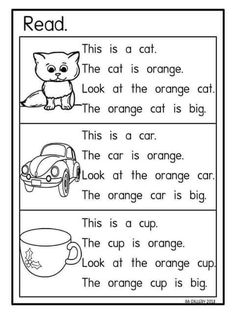 I like this activity because it monitors understanding. Students color the pictures according to the description. There is also a lot of repetition that promotes literacy and comprehension. Phonics Reading, Reading Comprehension Worksheets, Teaching Phonics, Phonics Activities, Reading Passages, Learning English For Kids, English Worksheets For Kids, English Lessons For Kids, Teaching English