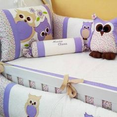 Owl baby bedding / But cream will look better