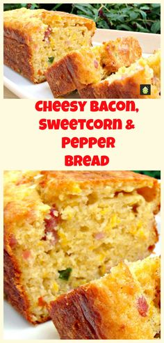 Cheesy Bacon, Sweet Corn & Pepper Bread Easy recipe and yep, VERY DELICIOUS! Serve warm or cold, tasty either way! Goes great with soups too. -- Makes 1 loaf or 12 muffins Light lunch or wedding party Bread Recipes, Cooking Recipes, Bacon Bread Recipe, Muffins, Biscuit Bread, Good Food, Yummy Food, Scones, Sweet Bread