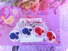 Poppy Flower Earrings - Vintage Poppies Earrings Studs / Clipons Anzac Day Gift