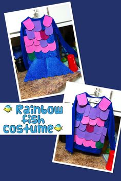 DIY no sew rainbow fish costume