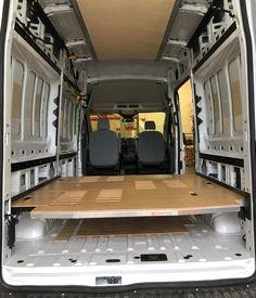 Van Conversion Interior, Camper Van Conversion Diy, Van Interior, Ford Transit Camper Conversion, Bed Centre, Van Organization, Volkswagen Routan, Rv Floor Plans, Van Bed