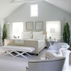 Calm White Bedroom Interior Design and Furniture Ideas - Home Design and Home Interior Master Bedroom Design, Home Bedroom, Bedroom Decor, Serene Bedroom, Gray Bedroom, Calm Bedroom, Bedroom Ideas, Modern Bedroom, Bedroom Furniture