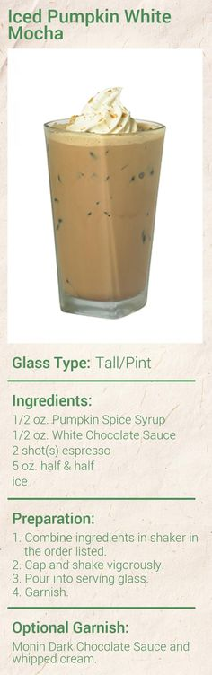 Create this delicious Iced Pumpkin White Mocha in minutes using Monin Gourmet Syrup. Add a splash of Monin to coffee, cocktails, teas, lemonades and more. Espresso Recipes, Coffee Drink Recipes, Espresso Drinks, Tea Recipes, Vitamix Recipes, Iced Mocha Recipe, Latte Recipe, White Chocolate Sauce, White Mocha