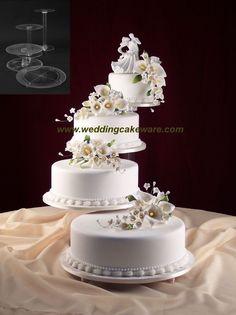 4 TIER CASCADING WEDDING CAKE STAND STANDS SET in Home & Garden, Wedding Supplies, Wedding Cake Stands & Plates | eBay