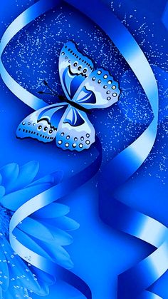 By Artist Unknown. Blue Roses Wallpaper, Bling Wallpaper, Heart Wallpaper, Butterfly Wallpaper, Cellphone Wallpaper, Iphone Wallpaper, Butterfly Pictures, Butterfly Flowers, Blue Butterfly