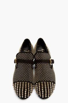 GIUSEPPE ZANOTTI Black Studded Suede Buckled Loafers