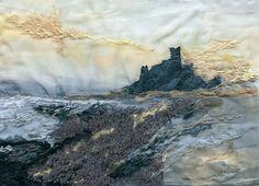 Giclee Textile Art Print 'Bamburgh Sunrise' by LauraEdgarTextiles