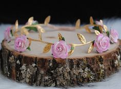PETITE ROSETTE CROWN gold flower crown ombre by ReignbyBrogan