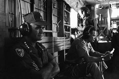 Defense Secretary McNamara and Gen. William Westmoreland, commander U. Forces in Vietnam, sit with muffler type radio earphones as they ride in helicopter toward the DMZ on McNamara's first field trip during his current visit to Vietnam, July North Vietnam, Vietnam War, William Westmoreland, Robert Mcnamara, Michael Morris, First Indochina War, Patton Tank, M48, Historical Images
