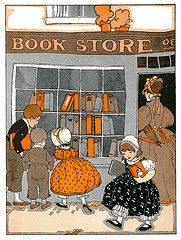 Charming 1920s vintage illustration of children window shopping/visiting a book store...