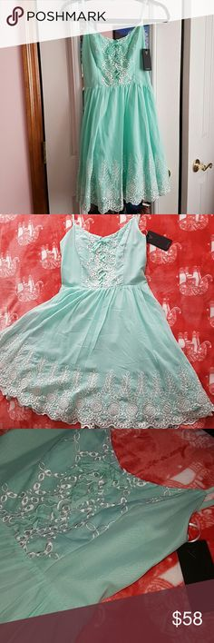 GUESS Green Abyss dress NEW! Embroidered White Lace look. Tiffany Green, beautiful for family party, a night out, or formal attire. Guess Dresses Mini