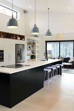 27 inspiring modern luxury kitchen design ideas 12 ⋆ All About Home Decor Minimal Kitchen Design, Luxury Kitchen Design, Interior Design Living Room, Küchen Design, Layout Design, House Design, Design Ideas, Home Decor Kitchen, Home Kitchens