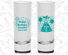 13th Birthday Shooter Glasses, Happy Birthday, Confetti Birthday, Birthday Tall Shot Glasses (20116)