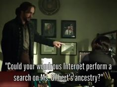 Ichabod asks Abby if the 'wondrous internet' could help them gather info on Ms. Gilbert.