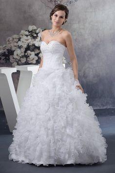 Abito da Sposa senza strap Principessa con Piega Ball Gown Cerniera