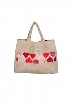 Taška Hearts 2 - 100% konope Burlap, Reusable Tote Bags, Hessian Fabric, Jute, Canvas