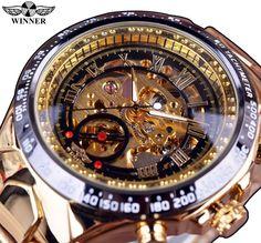 Ganador Número Nuevo Deporte Diseño de Bisel de Oro Reloj Para Hombre Relojes de Primeras Marcas de Lujo Montre Homme Reloj Hombres Reloj Automático Esquelético