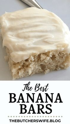 The BEST Banana Bars with Cream Cheese Frosting | The Butcher's Wife Banana Dessert Recipes, Easy Desserts, Cookie Recipes, Delicious Desserts, Yummy Food, Banana Recipes Cream Cheese, Desserts With Bananas, Easy Cream Cheese Desserts, Cream Cheese Snacks