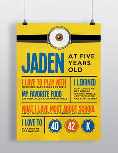 DIY Printable - Despicable Me Minion Inspired - Birthday Stats Print - great for pictures or simply display it at your party!