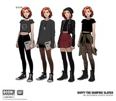 Buffy, Buffy's Scooby Gang & Buffy's Arch-Enemy Designs for BOOM! Studios' Buffy the Vampire Slayer Reboot Artist design by: Dan Mora Female Character Design, Character Design References, Character Drawing, Character Design Inspiration, Fantasy Character, Character Reference, Pose Reference, Fashion Design Drawings, Fashion Sketches