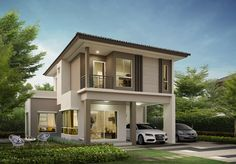 Zen House Design, 2 Storey House Design, Minimalist House Design, Dream Home Design, Large Homes Exterior, Simple House Exterior, Philippines House Design, 3d House Plans, Philippine Houses