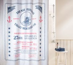 Gorgeous #Spirella Sag Harbour all-American shower curtain from the #Hamptons collection. #bathroom #america #sanfrancisco #blue