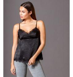 Μπλούζα με Ραντάκι από Σατέν και Δαντέλα - Μαύρο Camisole Top, Tank Tops, Women, Fashion, Moda, Halter Tops, Women's, Fashion Styles, Woman